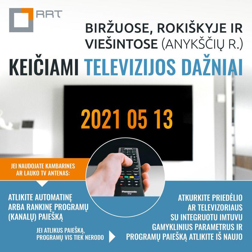 Biržuose, Rokiškyje ir Viešintose (Anykščių r.) keičiami televizijos dažniai