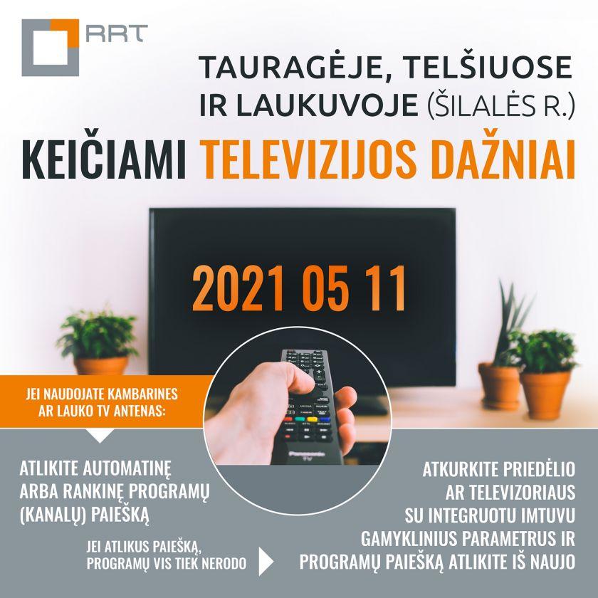 Tauragėje, Telšiuose ir Laukuvoje (Šilalės r.) keičiami televizijos dažniai